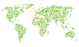 De kaart van de wereld van ecopictogrammen Stock Fotografie