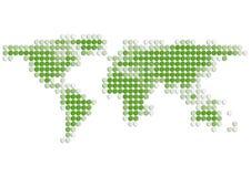 De kaart van de wereld van groene 3D Punten Stock Foto