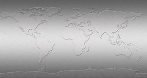 De kaart van de Wereld van het roestvrij staal stock foto