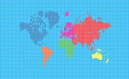 De kaart van de wereld van pixelvierkanten Stock Afbeeldingen