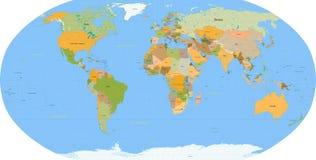 De kaart van de wereld - vector - detail Royalty-vrije Stock Afbeeldingen