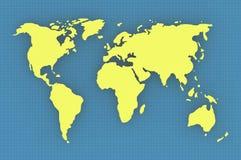 De kaart van de wereld voor achtergrond Stock Foto