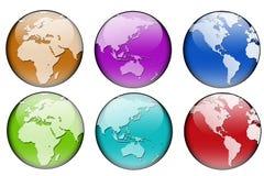 De kaart van de wereld in zes kleuren Royalty-vrije Stock Fotografie