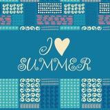 De kaart van de zomer Naadloos patroon Hand getrokken krabbels Stock Foto
