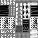 De kaart van de zomer Naadloos patroon Hand getrokken krabbels Royalty-vrije Stock Afbeeldingen