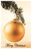 De Kaart van de de Decoratiegroet van de Kerstmisbal Royalty-vrije Stock Foto's