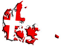 De Kaart van Denemarken Stock Afbeeldingen