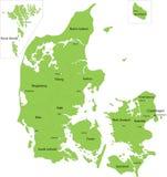 De kaart van Denemarken Stock Foto's