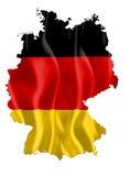De kaart van Duitsland met vlag Stock Fotografie