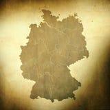 De kaart van Duitsland op grungeachtergrond Stock Afbeeldingen
