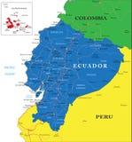 De kaart van Ecuador Stock Foto