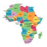 De kaart van Editable van Afrika Royalty-vrije Stock Afbeeldingen