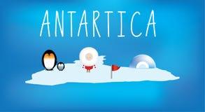 De kaart van eenvoudige kinderen van antartica met pictogrammen Stock Fotografie