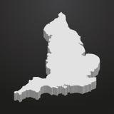 De kaart van Engeland in grijs op een zwarte 3d achtergrond Royalty-vrije Stock Foto