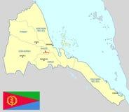 De kaart van Eritrea Stock Afbeelding