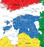 De kaart van Estland Stock Foto
