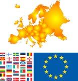 De kaart van Europa stock illustratie