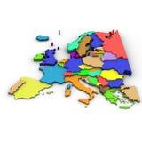 De kaart van Europa Stock Foto