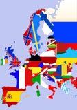 De kaart van Europa Stock Afbeeldingen