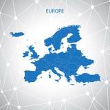 De kaart van Europa Communicatie achtergrondvector Stock Fotografie