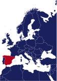 De kaart van Europa met highlited Spanje vector illustratie