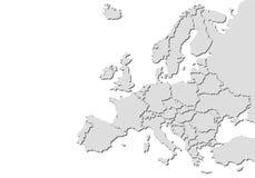 De kaart van Europa met schaduwen Royalty-vrije Stock Afbeeldingen