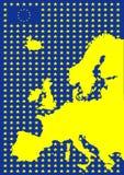 De kaart van Europa met vlag van Europese Unie stock illustratie