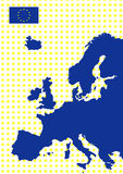 De kaart van Europa met vlag van Europese Unie vector illustratie