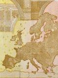 De kaart van Europa op rug van euro rekening vijftig Royalty-vrije Stock Foto's