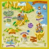 De kaart van fantasieadvernture voor cartografie met kleurrijke krabbelhand trekt illustratie in woestijnland vector illustratie