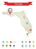 De Kaart van Florida Stock Afbeeldingen