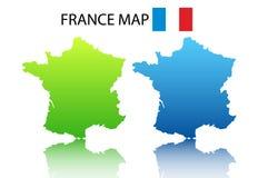 De kaart van Frankrijk Stock Foto