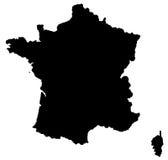 De kaart van Frankrijk Stock Foto's