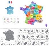 De kaart van Frankrijk door gebieden wordt gekleurd dat Royalty-vrije Stock Foto's