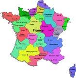 De kaart van Frankrijk op een witte achtergrond Stock Foto