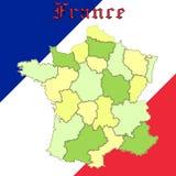 De kaart van Frankrijk over nationale kleuren Stock Foto
