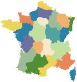 De kaart van Frankrijk verdeelde in gebieden Royalty-vrije Stock Foto
