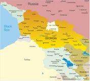 De kaart van Georgië Stock Afbeelding