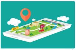 De Kaart van GPS Smartphone Stock Foto's
