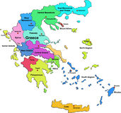 De kaart van Griekenland op een witte achtergrond Stock Fotografie