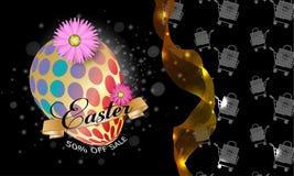 De kaart van de groet Gelukkig Pasen-malplaatje als achtergrond met l-bloemen en paasei Vectorillustratie - Beelden vectorielles vector illustratie