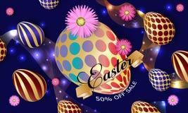 De kaart van de groet Gelukkig Pasen-malplaatje als achtergrond met l-bloemen en paaseieren Vectorillustratie - Beelden vectoriel stock illustratie