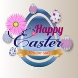 De kaart van de groet Gelukkig Pasen-malplaatje als achtergrond met mooie bloemen en eieren Vectorillustratie - Beelden vectoriel vector illustratie