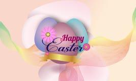 De kaart van de groet Gelukkig Pasen-malplaatje als achtergrond met mooie bloemen en eieren Vectorillustratieeieren royalty-vrije illustratie