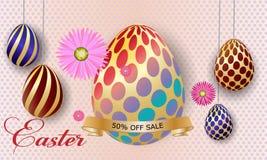 De kaart van de groet Gelukkig Pasen-malplaatje als achtergrond met mooie bloemen en eieren Vectorillustratieeieren stock illustratie