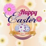 De kaart van de groet Gelukkig Pasen-malplaatje als achtergrond met mooie bloemen, lint en eieren Vectorillustratie - Beelden vector illustratie