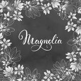 De kaart van de groet met magnoliabloemen Bloemen achtergrond Vector illustratie Stock Foto
