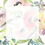 De kaart van de groet met waterverfbloemen stock foto