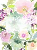De kaart van de groet met waterverfbloemen stock fotografie