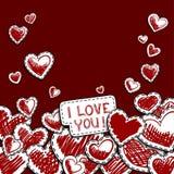 De kaart van de groet voor valentijnskaartendag Hand-drawn harten op een rode achtergrond stock illustratie